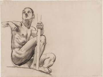 Sketch for Architecture, Painting and Sculpture - Figure seated beneath Painting - (MFA Rotunda)