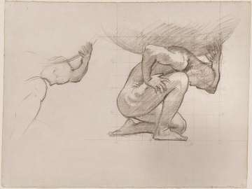 Sketch for Atlas and the Hesperides - Atlas (MFA Stairway)