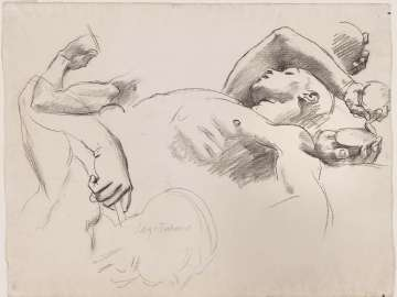Sketch for Atlas and the Hesperides - Hesperides (MFA Stairway)