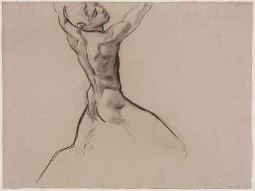 Sketch for Cartouche over Ganymede - Youth Kneeling (MFA Rotunda)