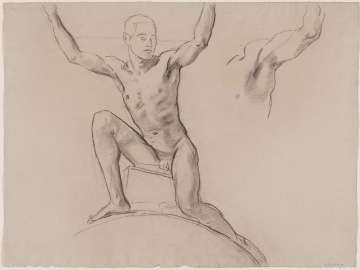 Sketch for Cartouche over Prometheus - Youth Kneeling -(MFA Rotunda)