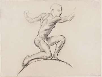 Sketch for Cartouche over Astronomy - Youth Kneeling - (MFA Rotunda)