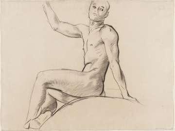 Sketch for Cartouche over Prometheus - Youth Seated -(MFA Rotunda)