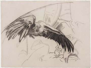 Sketch for Gog and Magog - Vulture with Capital - Boston Public Library Murals