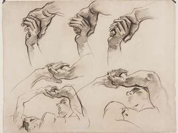 Sketch for Heaven - Hands - Boston Public Library Murals