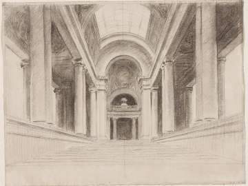 Sketch for Rotunda of Museum of Fine Arts - Architectural sketch for rotunda and stairway