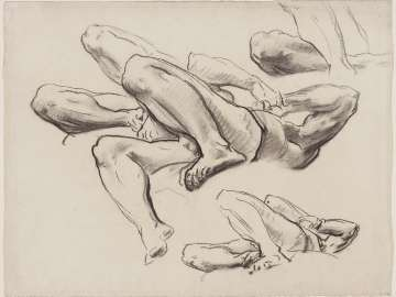 Sketch for Hell - Reclining Figures - Boston Public Library Murals