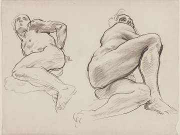 Sketch for Hell - Two Figures - Boston Public Library Murals