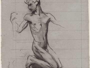Sketch for the Crucifixion - Adam - Boston Public Library Murals