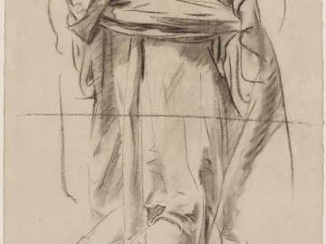 Double-sided drawing for Boston Public Library Mural a.(Recto) Sketch for the Joyful Mysteries, The Annunciation - The Virgin  b. (Verso) Sketch of Head