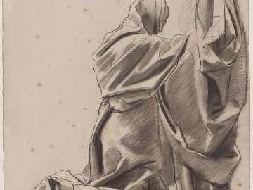 Sketch for the Joyful Mysteries, The Visitation - The Virgin's Drapery - Boston Public Library Murals