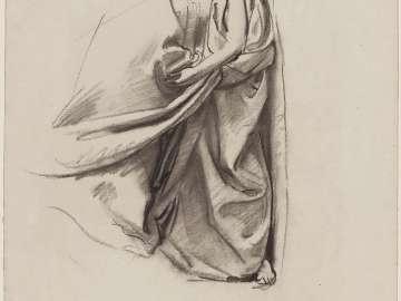 Sketch for the Joyful Mysteries, The Visitation - Drapery - Boston Public Library Murals