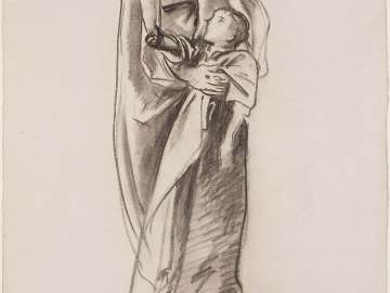 Sketch for the Joyful Mysteries, The Finding of our Lord in the Temple - Virgin and Child - Boston Public Library Murals