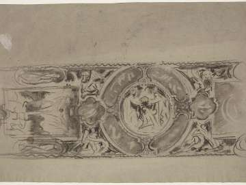Double-sided Drawing for Boston Public Library Murals a. (Recto) Sketch for the Mysteries - Ceiling Study b. (Verso) Architectural Study