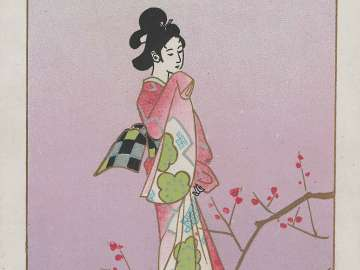 Genroku-style Woman with Plum Blossoms (from an unidentified series)