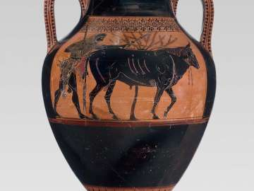 Two-handled jar (amphora) with Herakles driving a bull to sacrifice