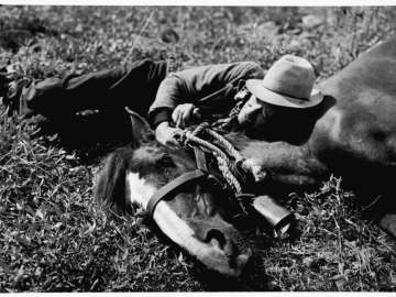 Alaskan Guide, Jack Kennedy Resting with his Horse, Alaska
