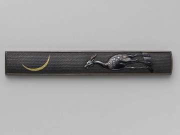 Kozuka with design of deer and moon