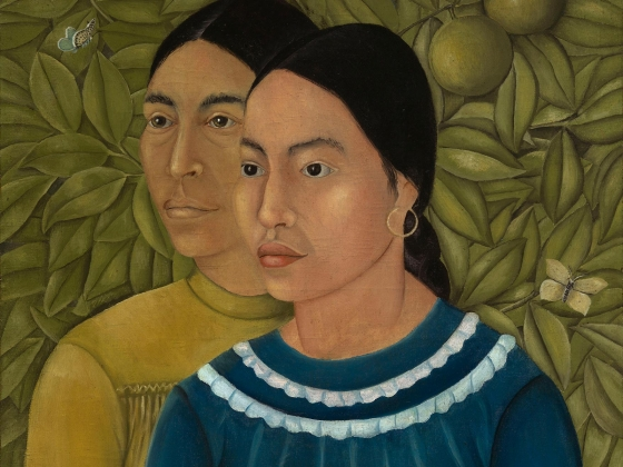 Detail of Dos Mujeres, painting by Frida Kahlo
