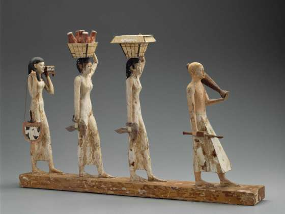 """Model of a procession of offering bearers (""""The Bersha Procession"""") Egyptian, Middle Kingdom, late Dynasty 11 – early Dynasty 2010–1961 B.C."""