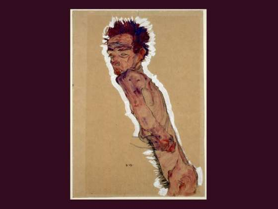 Egon Schiele's drawing, Nude Self-Portrait.