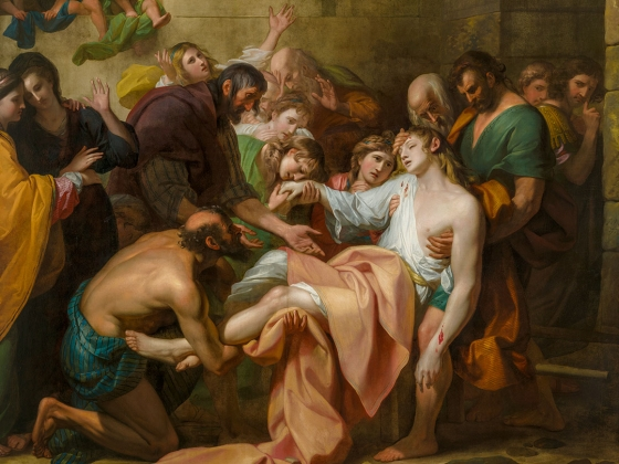 Detail of Benjamin West's painting, Devout Men Taking the Body of Saint Stephen