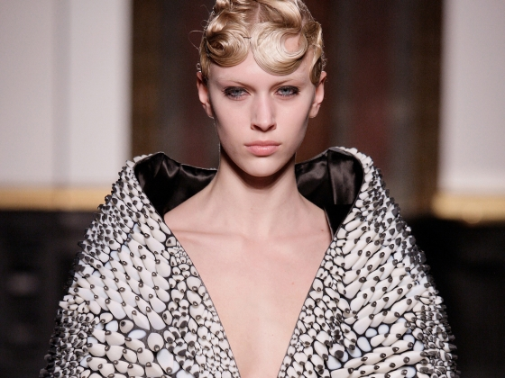 Designed by Iris van Herpen and Neri Oxman, printed by Stratasys, Cape and skirt, 2013