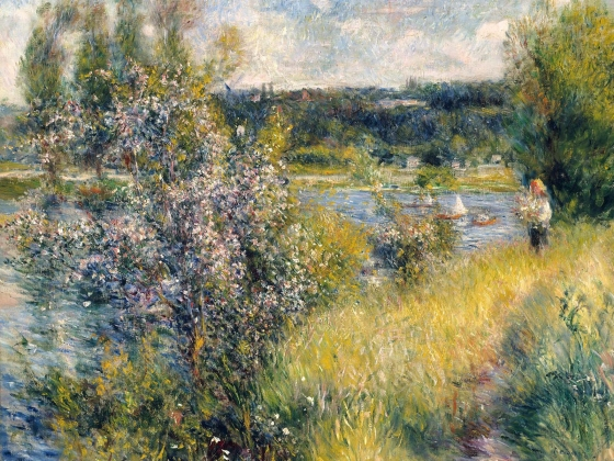The Seine at Chatou, an oil painting of a riverbank by Pierre-Auguste Renoir