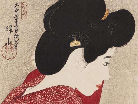 Detail of Itô Shinsui's print, Woman Looking at a Mirror
