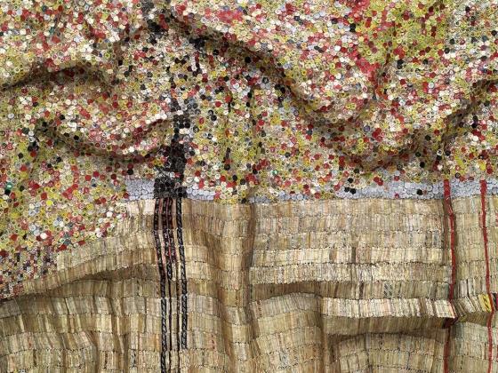 Detail of El Anatsui's tapestry, Black River