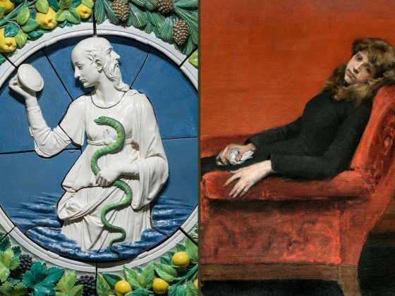 Images side by side. Left: Andrea della Robbia, Prudence. Right: William Merritt Chase, Young Orphan