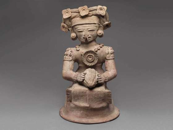 Human effigy incense burner top, Maya, Late Classic Period, A.D. 400–550