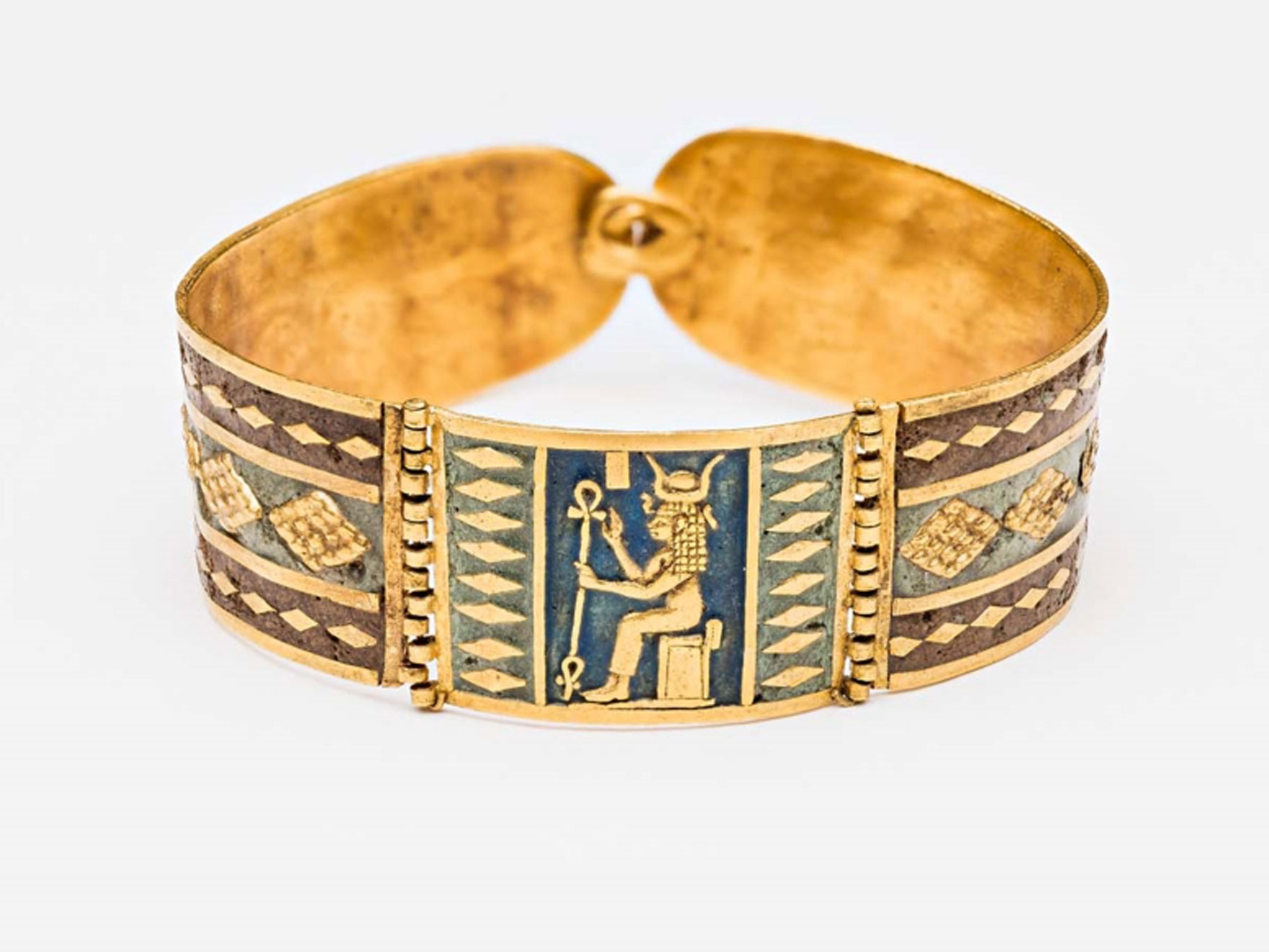 Nubian bracelet in gold and enamel depicting a seated Hathor