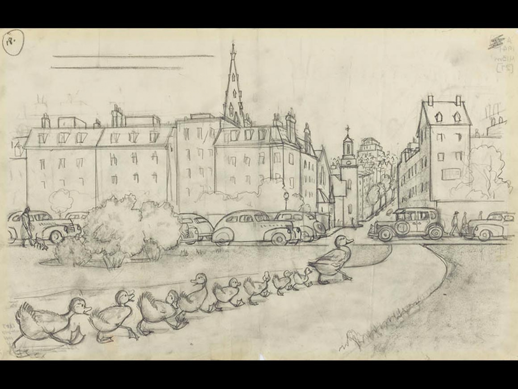 """Robert McCloskey's drawing for Make Way for Ducklings (""""There they waded ashore and waddled along till they came to the highway."""")"""