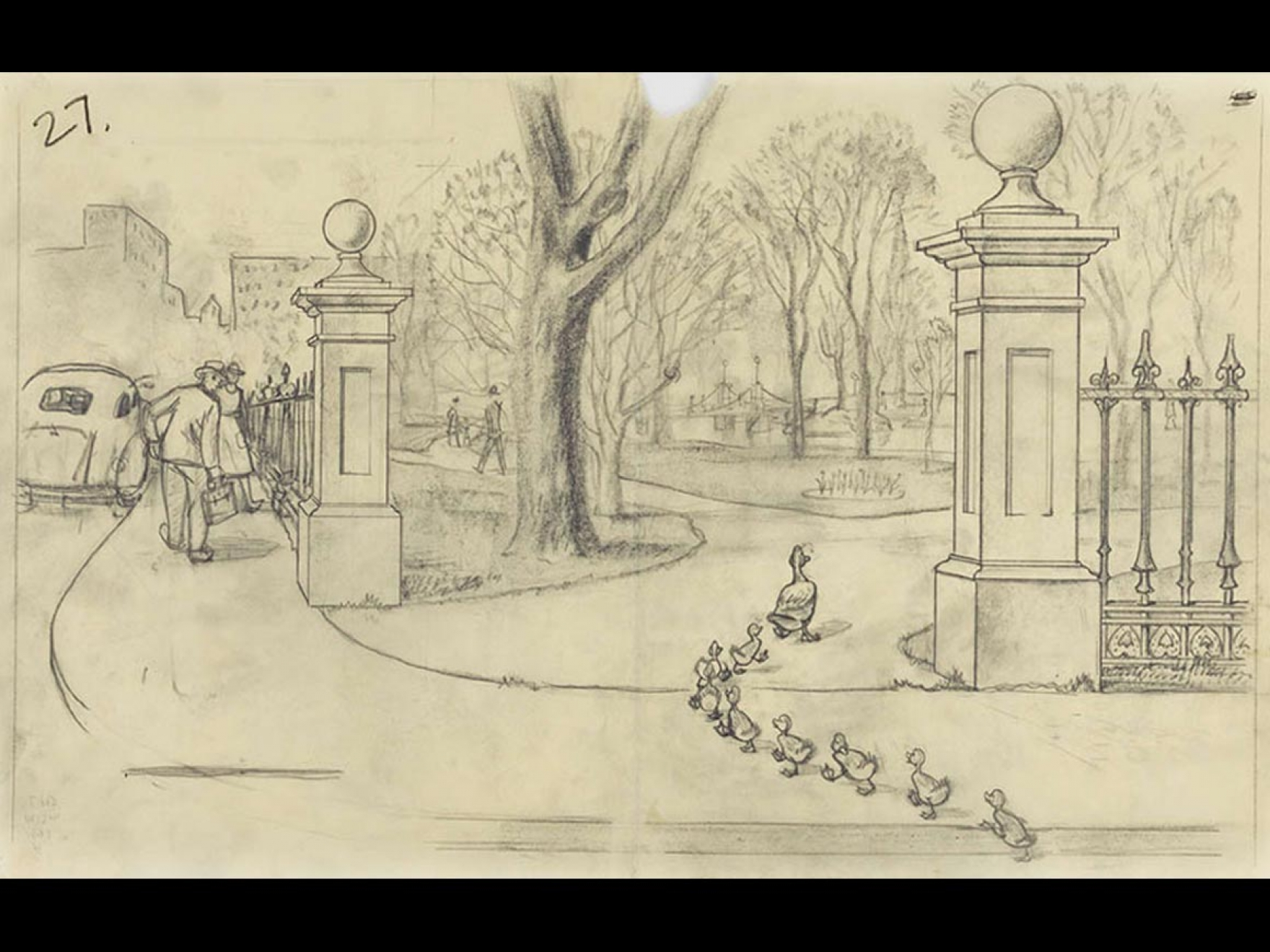 """Robert McCloskey's drawing for Make Way for Ducklings ("""". . . right on into the Public Garden,"""")"""