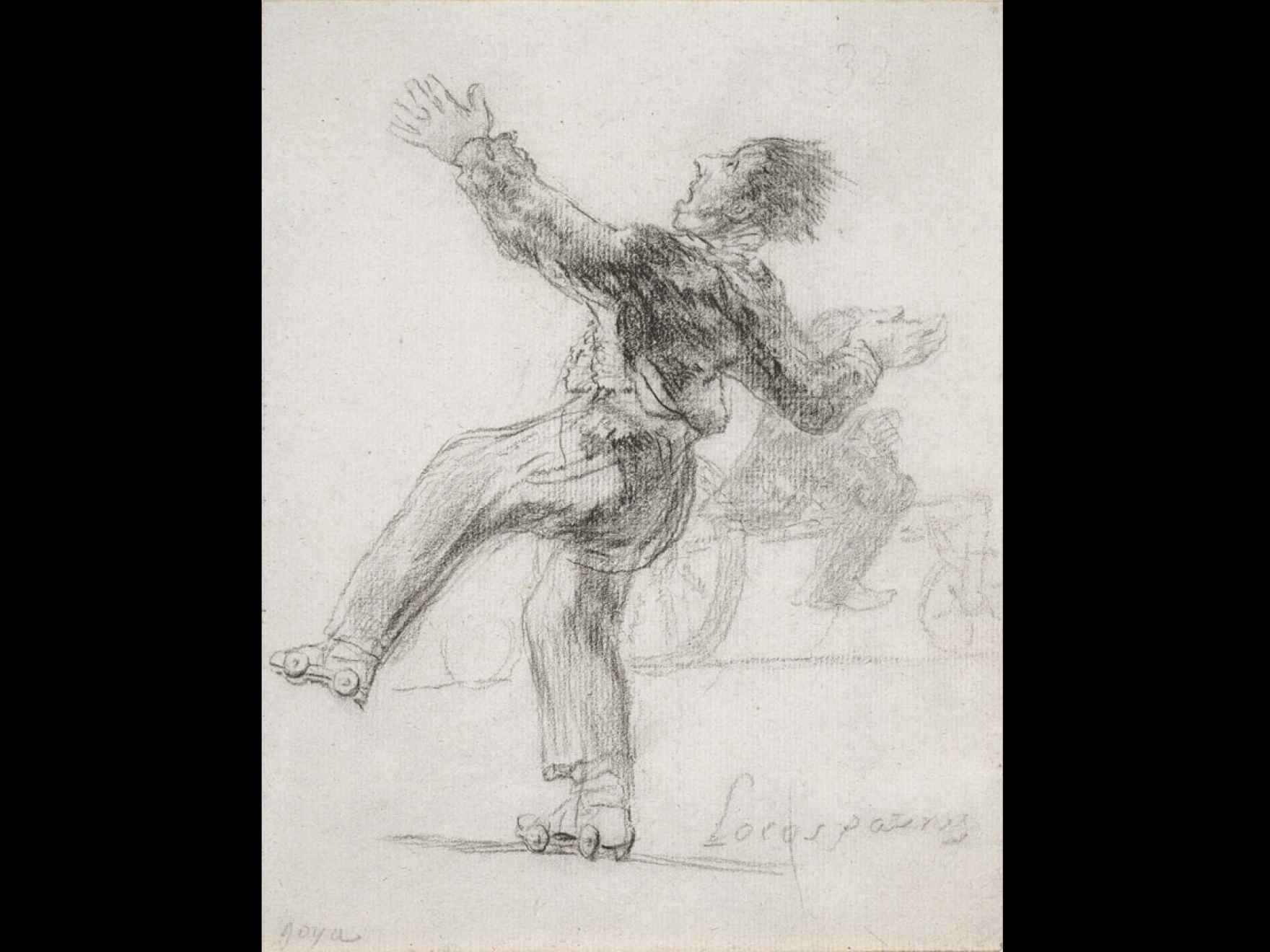 Print in black crayon on Prussian blue laid paper of a man loosing his balance on skates and is about to fall