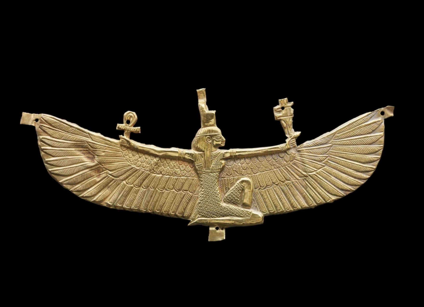Nubian period gold pectoral representing the winged goddess Isis