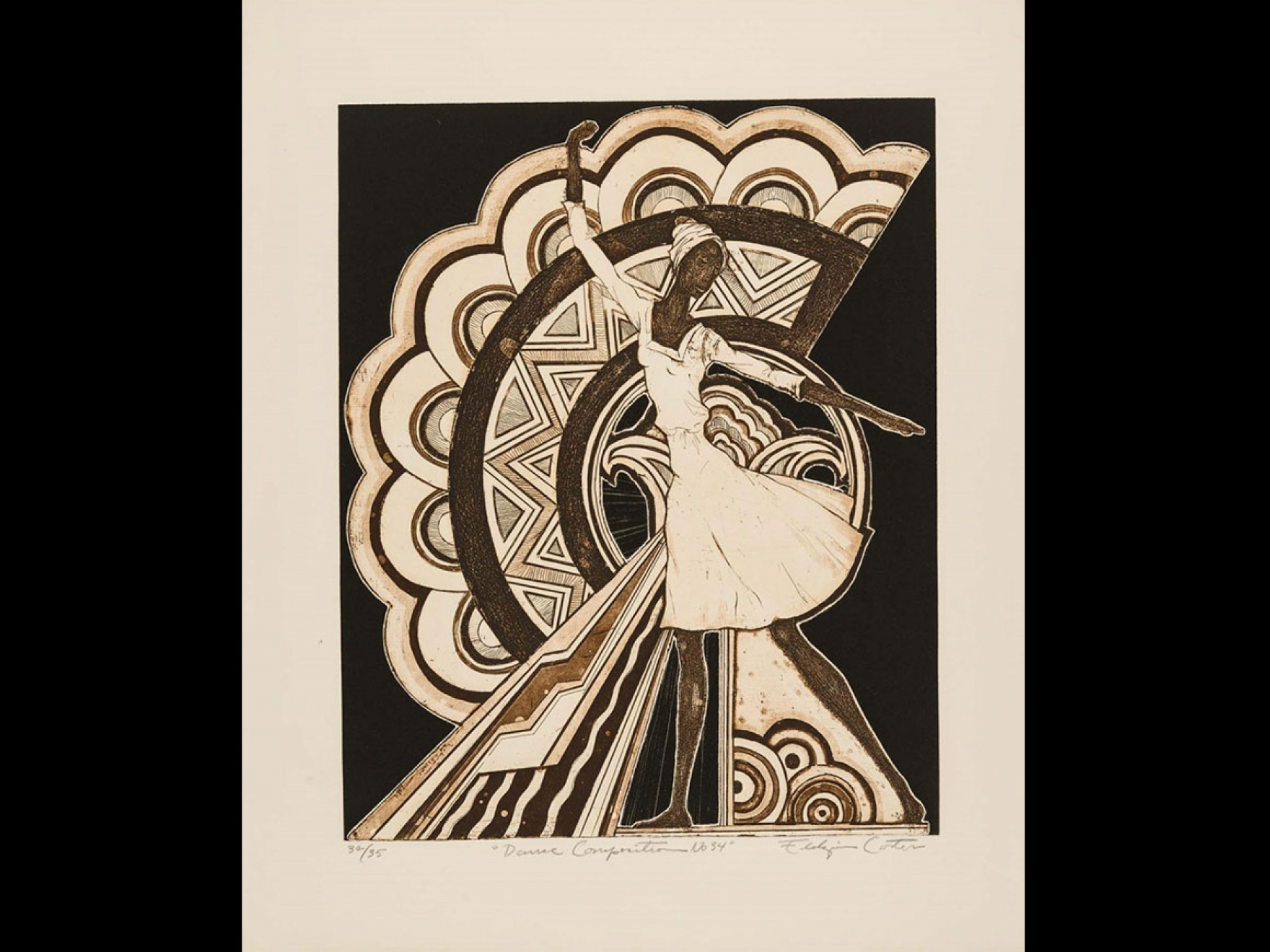 Eldzier Cortor's print, Dance Composition No. 34