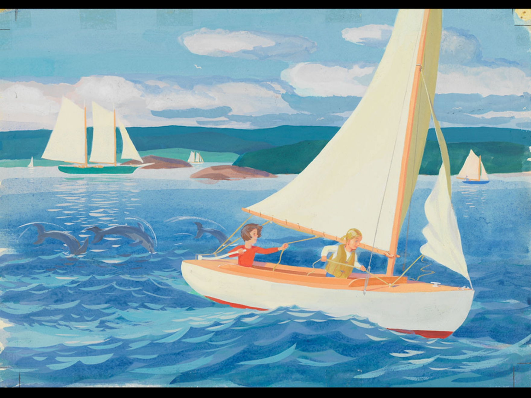 """Robert McCloskey's watercolor for Time of Wonder """"And then at sunset, with the porpoises puffing and playing around your boat, you come about and set a course for home,"""""""