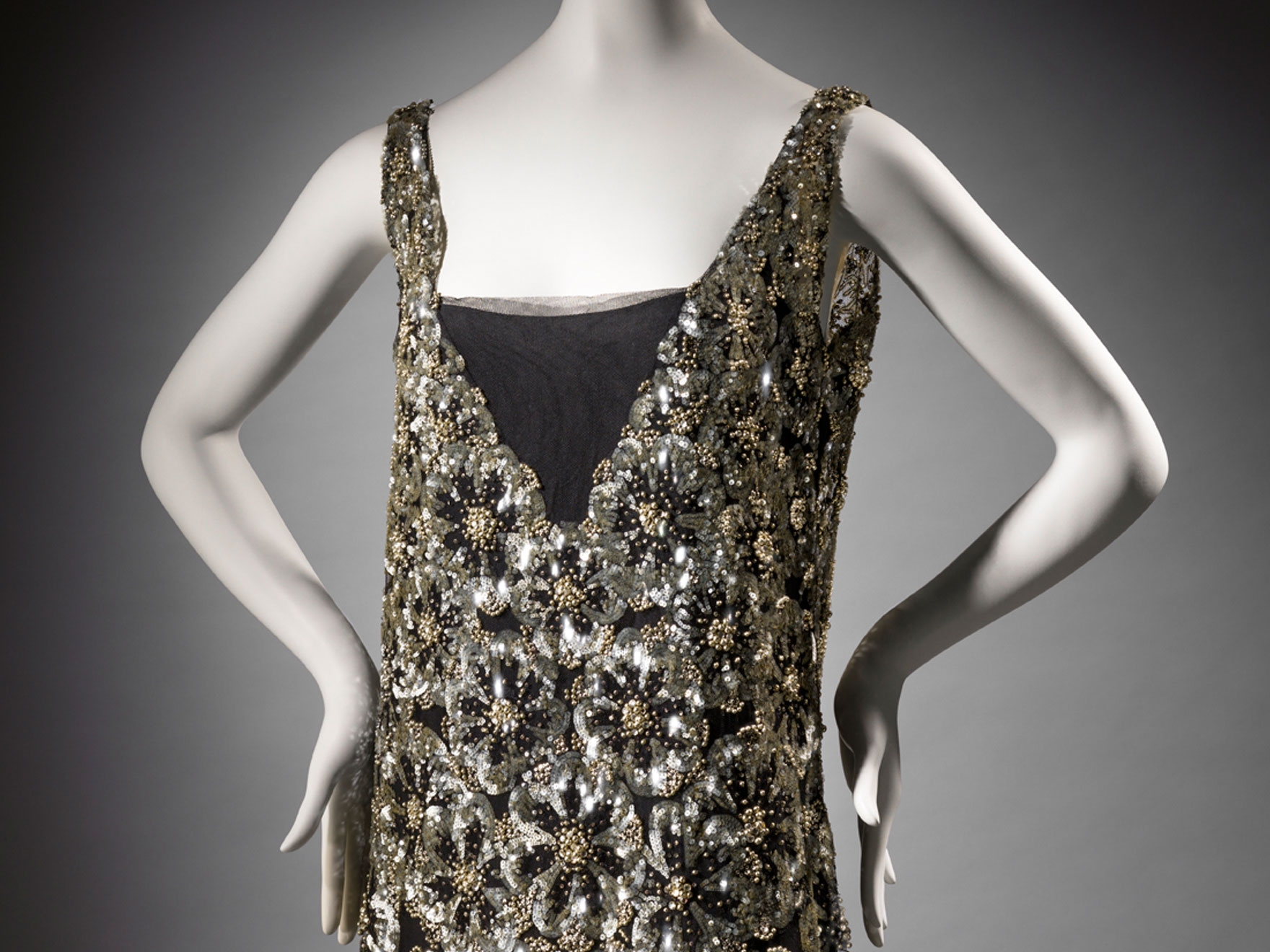 Silk, embroidered and sequined netting dress over a silk lining, designed by Chanel and worn by Ina ClaireLining; plain weave w/crepe yarns in the warp direction.