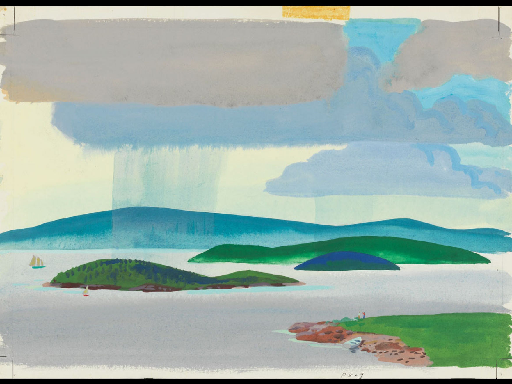"""Robert McCloskey's watercolor for Time of Wonder ("""". . . you, on your island are standing in the shadow, watching the rain begin to spill down way across the bay,"""")"""