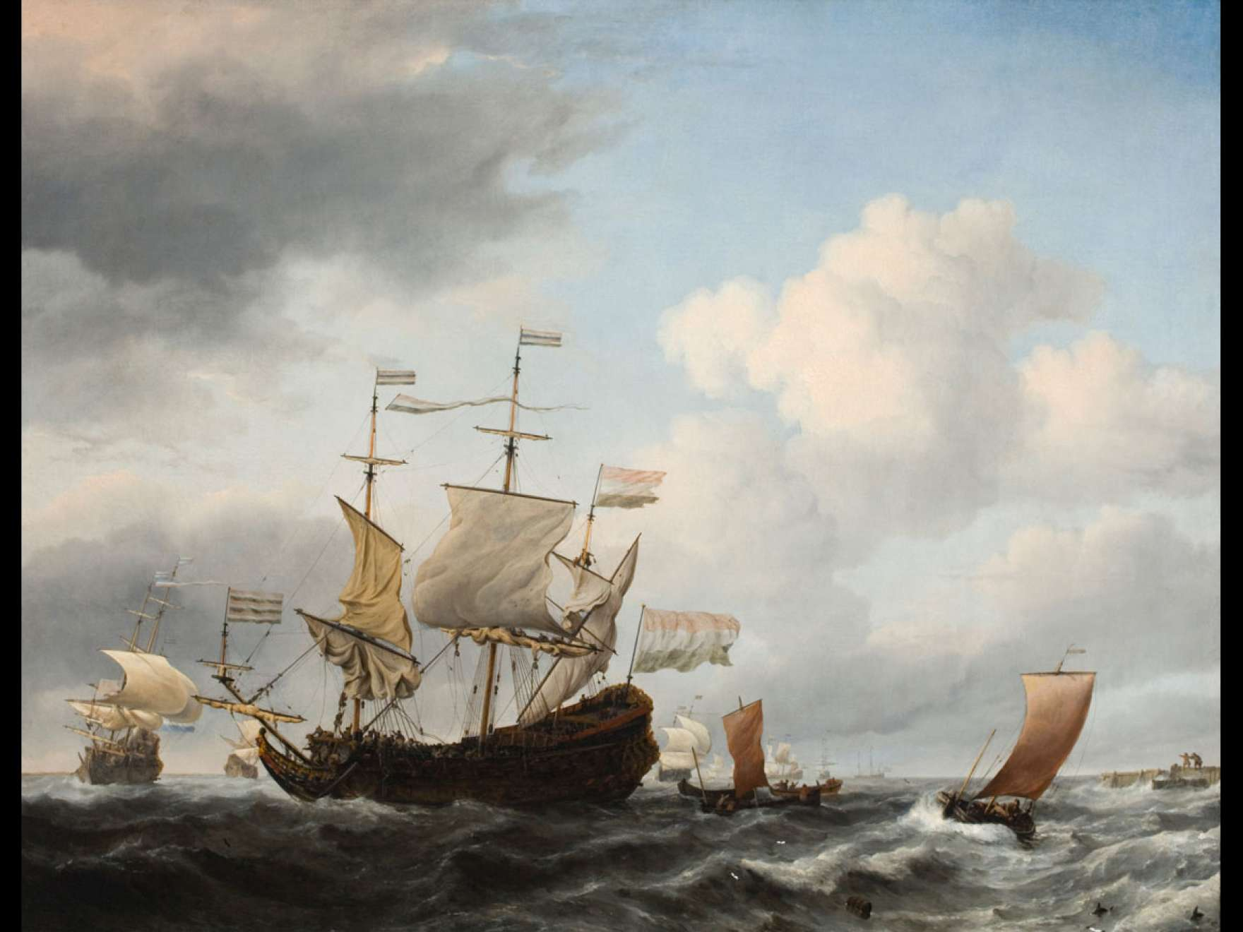 Willem van de Velde, the Younger's painting, A Dutch Flagship Coming to Anchor Close to the Land in a Fresh Breeze
