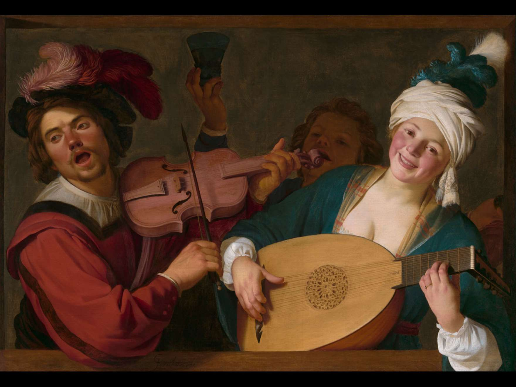 Gerrit van Honthorst's painting, A Merry Group behind a Balustrade with a Violin and a Lute Player