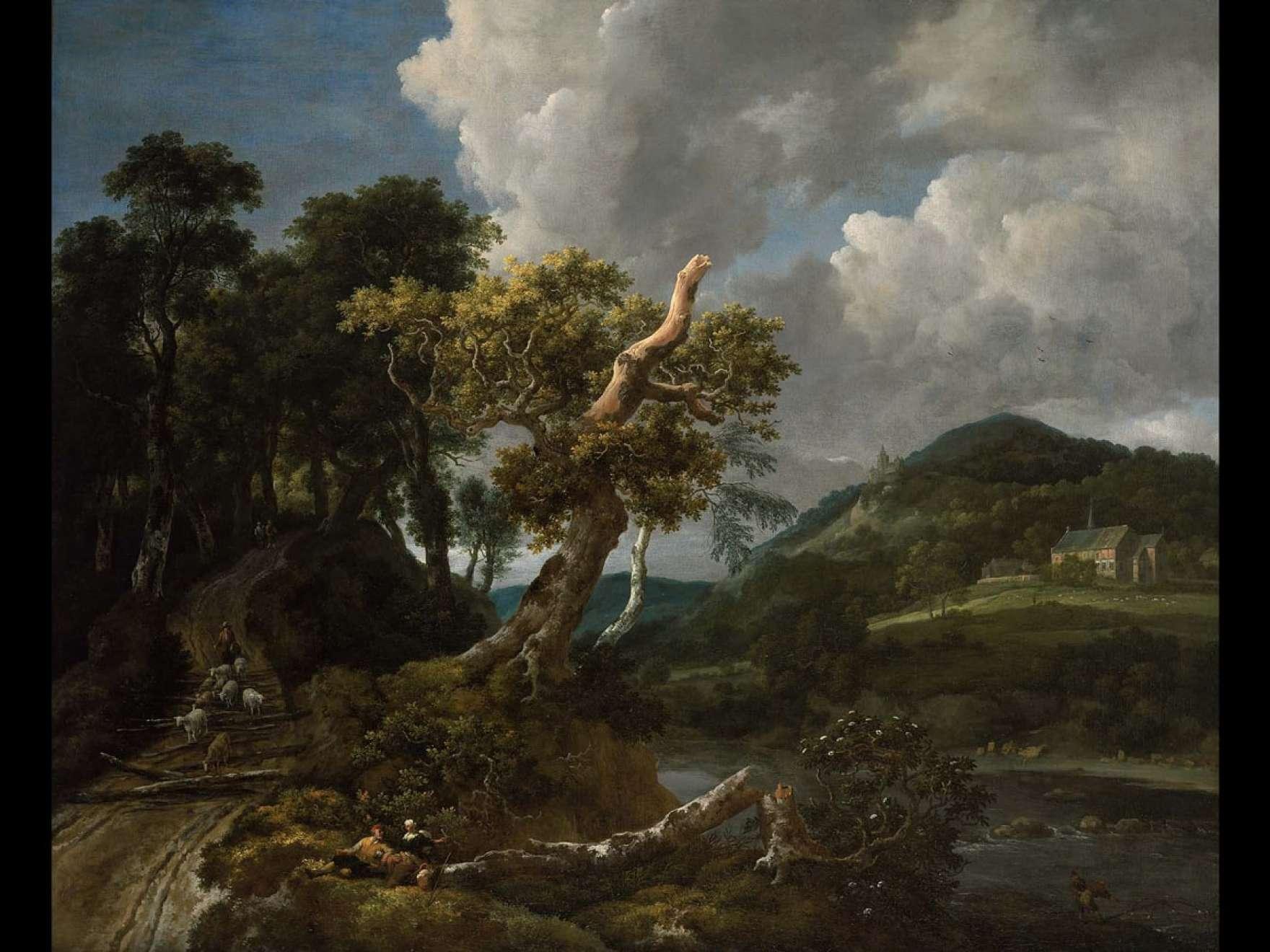 Jacob Isaacksz. van Ruisdael's painting, Wooded River Landscape with Shepherd