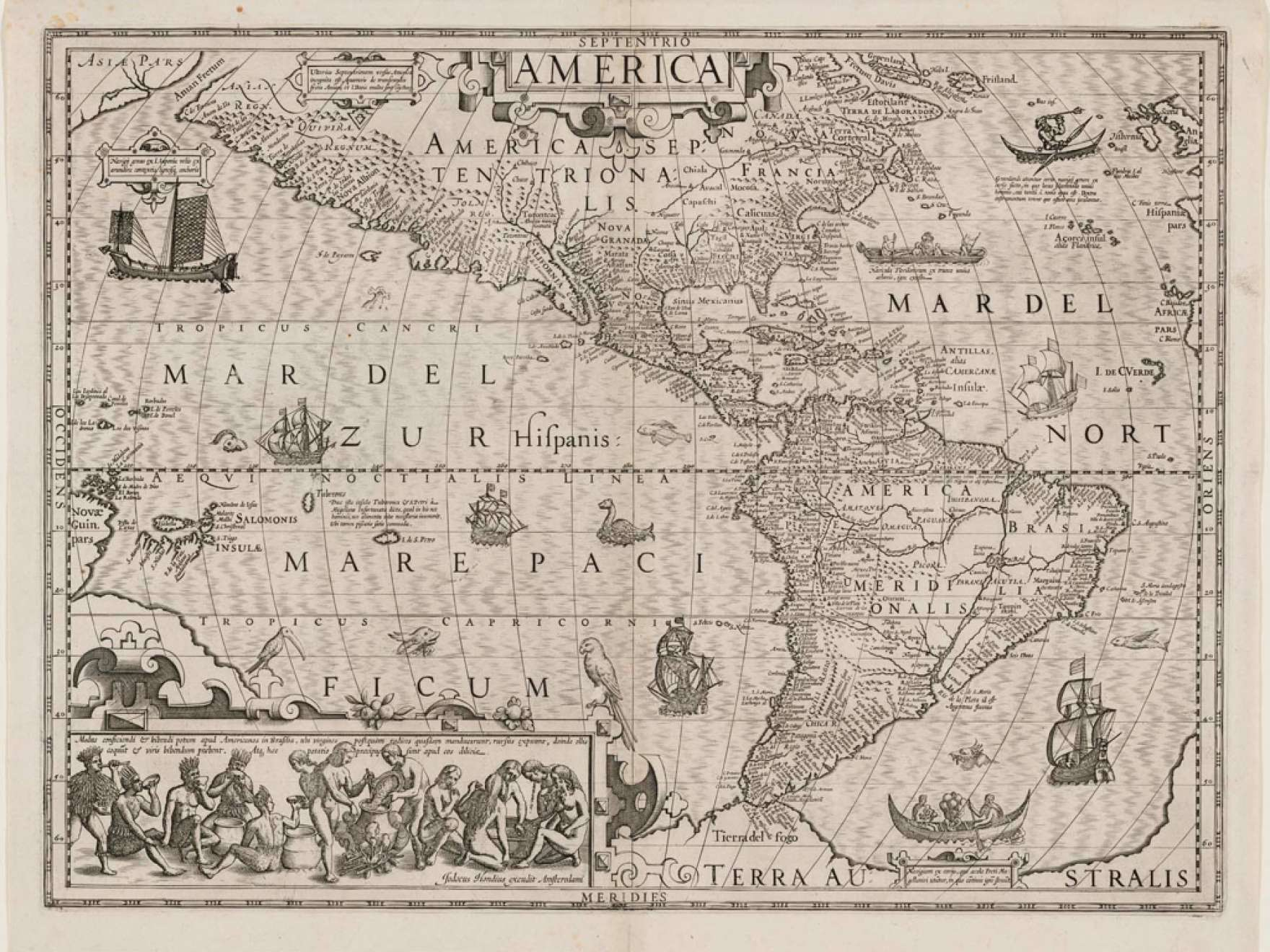 Jost (Jodocus) Hondius's engraving of Map of North and South America, late 16th–early 17th century