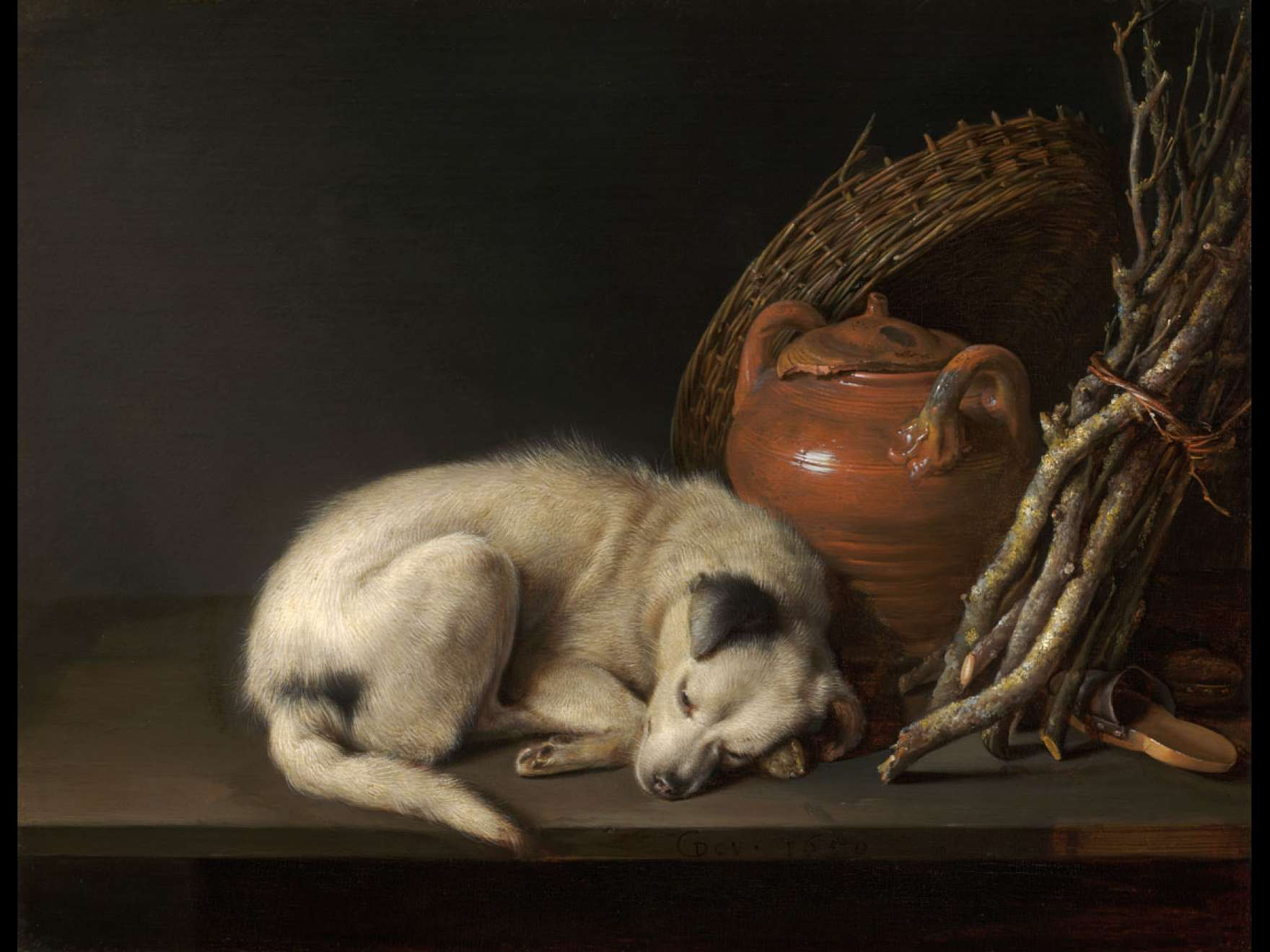 Gerrit Dou's painting, Dog at Rest