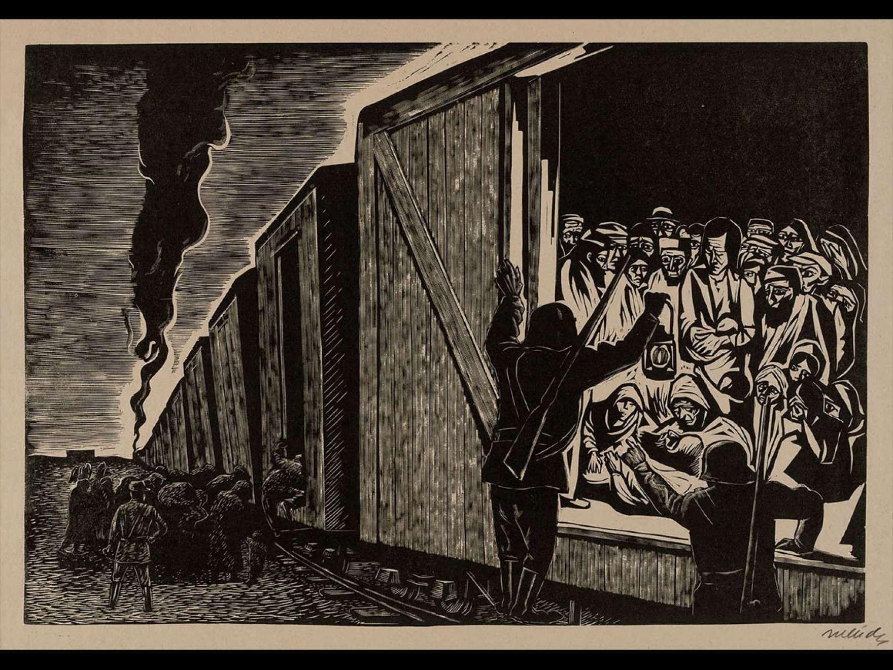 Leopoldo Méndez's Linocut piece, Deportation to Death (Deportacion a la muerte), 1942.