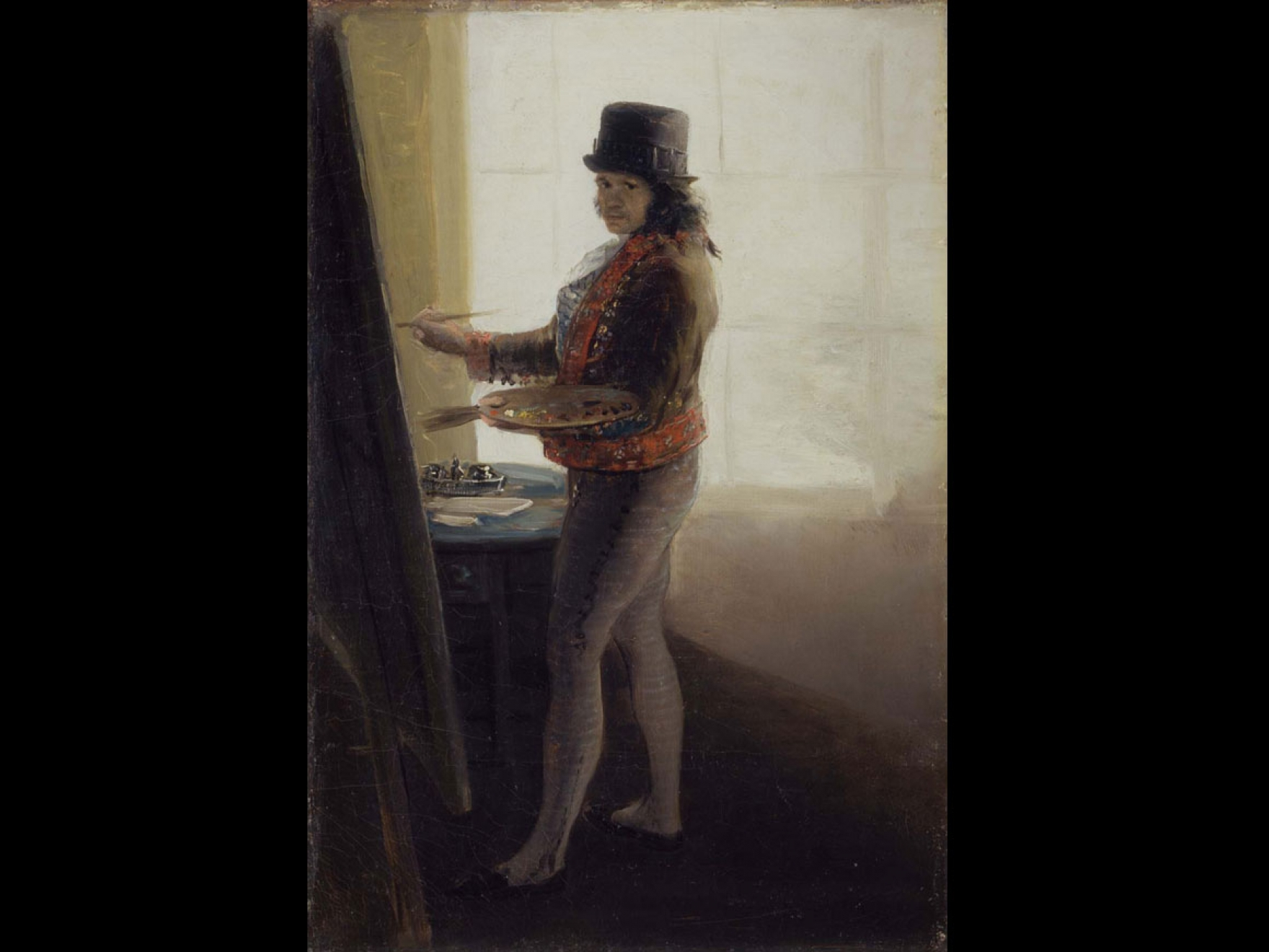 A self-portrait of Goya while he is painting this picture